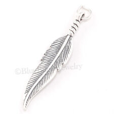 FEATHER Charm Pendant South western Native Indian 925 STERLING SILVER 3D large