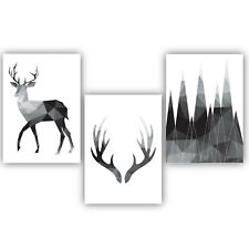 SET of 3 MONO GEOMETRIC Stag Deer, Forest Decor Wall Art Picture Print Poster