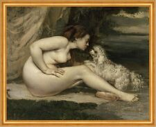 Nude Woman with a Dog Gustave Courbet Nackte Frau Akt Hund Tiere B A2 02168