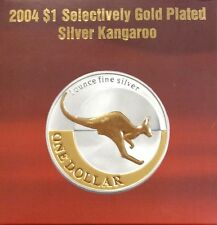 2004 $1 kangaroo selectively gold plated silver coin