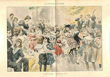 Bal Enfant Fête Children Child Ball (dance party) GRAVURE FRANCE 1896