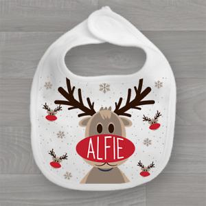 Personalised Christmas Xmas Baby Bib Feeding Dribble Muslin Rudolph Reindeer