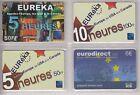 4 TELECARTE / PHONE CARD .. FRANCE PREPAYEE EUREKA EUROPE MIX DIFFERENTS A17