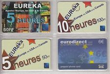 4 TELECARTE / PHONE CARD .. FRANCE PREPAYEE EUREKA EUROPE  MIX DIFFERENTS A17
