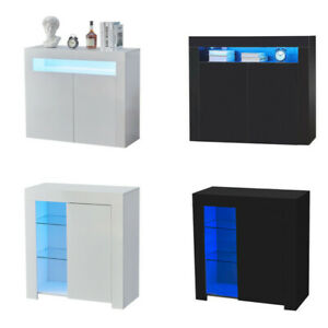 High Gloss Cupboard Cabinet Display Sideboard Storage With Door Glass LED Light