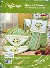 Stripes & Flowers Pot Holders & Oven Mitt Embroidery Kit - 2 Pot Holders, 1 Mitt