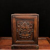 """11"""" Chinese old antique huanghuali wood handcarved louts flowers Jewelry box"""