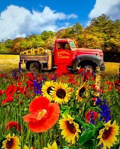 "35"" Fabric Panel - David Textiles Digital Wildflower Farm Red Pickup Truck"