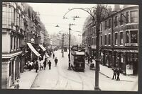 Postcard Reading Berkshire tram and shops in Broad Street posted 1916 RP