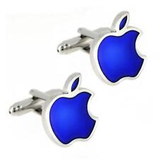 APPLE CUFFLINKS Computer Tech Geek Blue Silver Tone Logo NEW w GIFT BAG Wedding