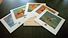 CLASSIC AMERICAN AIRCRAFT SET / 5 PRINTS WITH MATCHING U.S. STAMP IN FOLIO