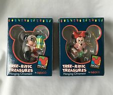 Mickey Unlimited Lot (2) tree-rific treasures hanging ornement 1 Mickey/1 Minnie