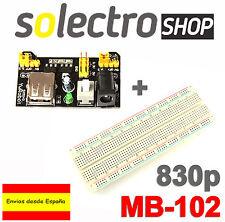 Kit PLACA PROTOTIPO 830 puntos MB102 + Fuente de Alimentación 3,3V-5V A0003