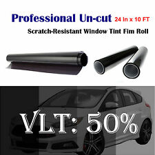 "Uncut Roll Window Tint Film 50% VLT 24"" In x 10' Ft Feet Car Home Office Glass"