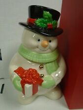 """Lenox Snowman Cookie Jar with Coa 591/1500 with Coa About 10"""" Tall 111919Amt"""