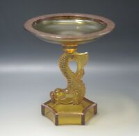 DOLPHIN KOI AMBER GLASS COMPOTE OR TAZZA