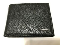 Calvin Klein Mens Classic Pebbled Leather Double Billfold ID Wallet Black