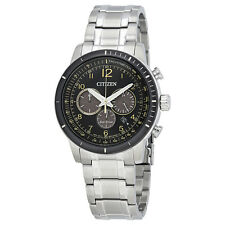 Citizen Brycen Black Dial Mens Chronograph Stainless Steel Watch CA4358-58E