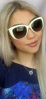 New FENDI FF 0019/S BMNHA 54mm White Cats Eye Women's Sunglasses Italy