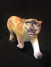 Vintage Leopard Cheetah Large Ceramic Figurine