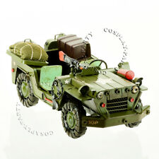 Green Army Military Jeep Vintage Diecast Metal Collectible Car Model Decorations