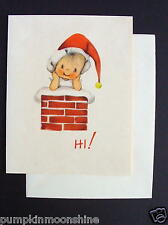 Unused 1946 Eva Harta Xmas Greeting Card Angel Inside the Chimney. Ars Sacra