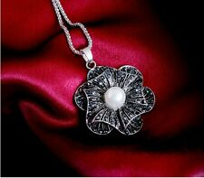 Vintage Style White Pearl Flower Pendant Long Necklace N257