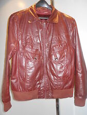 Vintage 60s 70s Burgundy Leather MotorCycle Jacket Coat Biker Mod Punk Rocker 42