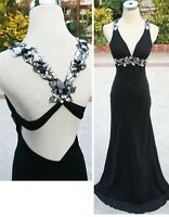 NWT FAVIANA $338 Black Evening Formal Ball Prom Gown 0