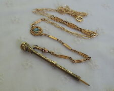 Victorian Gold Filled CHATELAINE PENCIL Necklace - CRYSTAL END -  Watch Chain