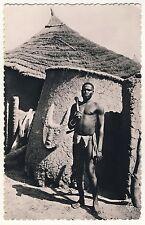 Ivory Coast FARMER HUT SCULPTURE BAUER HÜTTE KUNST RELIEF * Vintage 50s Photo PC