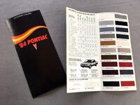 1984 Pontiac Original Color Paint Guide Car Sales Brochure - Firebird Grand Prix