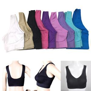 Women Lady Sports Bra Tank Vest Padless Bra Crop Top Yoga  Solid Soft Comfy NEW