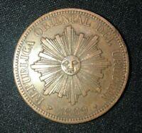RARE 1869-H URUGUAY 4C 4 Centesimos SCARCE AU - UNC VINTAGE ANTIQUE COIN OLD