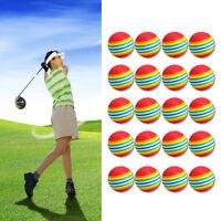 20Pcs/Pack Rainbow Stripe Foam Sponge Golf Balls Swing Practice Training Aids UK