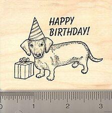 Happy Birthday dachshund dog Rubber Stamp J6708 WM