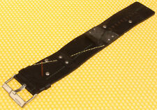 20mm FOSSIL Wide Leather Watch Strap Band BLACK <NEW>