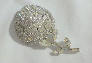 """RHINESTONE BEAUTIFUL SPARKLY CLEAR CRYSTAL BROOCH  3"""" BY 1.5"""" CLEAN STONES"""