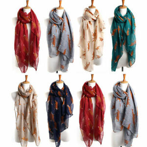 Women's Neck Warm Fox Print Scarf Animal Check Long Shawl For Cold Protection