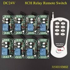 DC 24V 8CH Wireless Remote Switch 10A Relay Receiver Transmitter