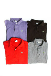 Lacoste Mens Collared Button Up Short Sleeve Shirts Gray Size 5 Lot 4