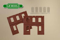 BNIB OO HO AUHAGEN 80523 BUILDING RED BRICK WALLS WITH INDUSTRIAL WINDOWS (2 PCS