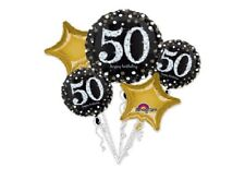 50th Birthday Decorations Party Supplies 50 Mylar 5 Balloons Bouquet Sparkling