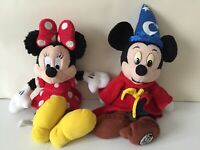Bundle Of 2 Walt Disney World Minnie & Mickey Mouse Sorcerer Soft Toys. G Cond