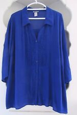 Catherines Career Blouse Womens 3X Indigo Blue Tunic Top Long Button Front Shirt