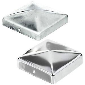Pfostenkappe Edelstahl / Stahl verzinkt Abdeckkappe Pyramide 7x7 9x9 10x10 12x12