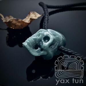 Blue Skull Pendant - Guatemalan Jadeite Carved Cranium on Leather Cord - BSP001