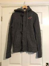 Hollister Grey Knitted Mens Coat Jacket Hooded size Medium