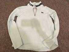 victoria's secret pink baby light blue quarter 1/4 zip tunic sweatshirt euc xs