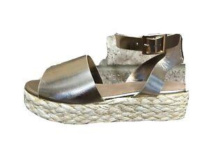 Bamboo Espadrille Platform Sandals GOLD Metallic Open Toe Women's Sz 6 *NEW*